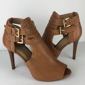 Michael Kors Leather Peep Toe Ankle Boot Heels 8.5
